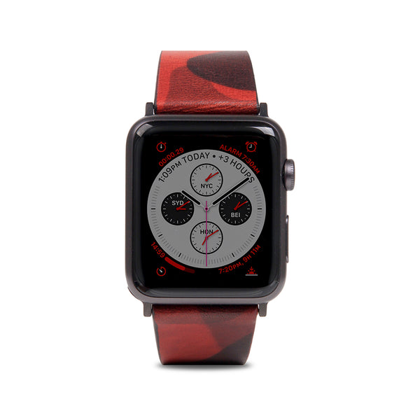 D9 Italian Camo Leather Strap for Apple Watch 1to4 42/44mm Red