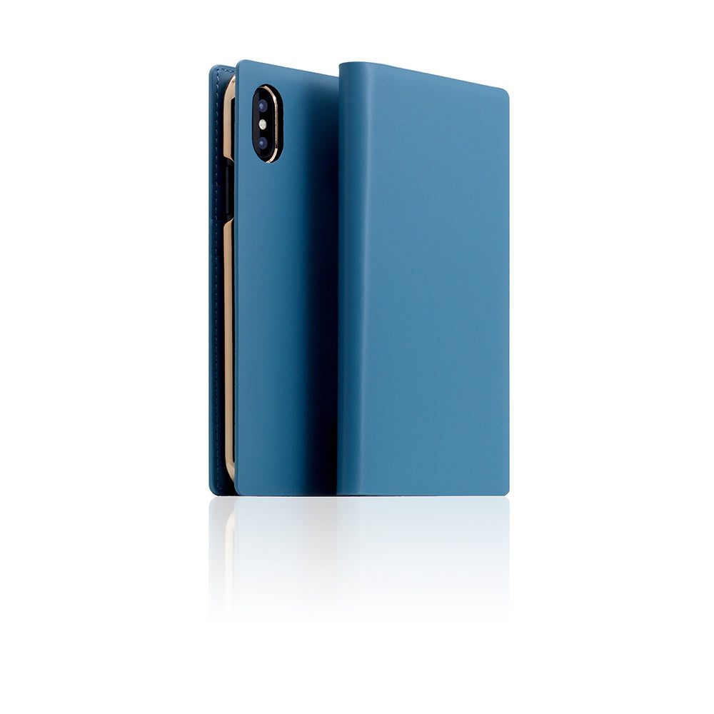 D5 Calf Skin Leather Case for iPhone X / XS Blue