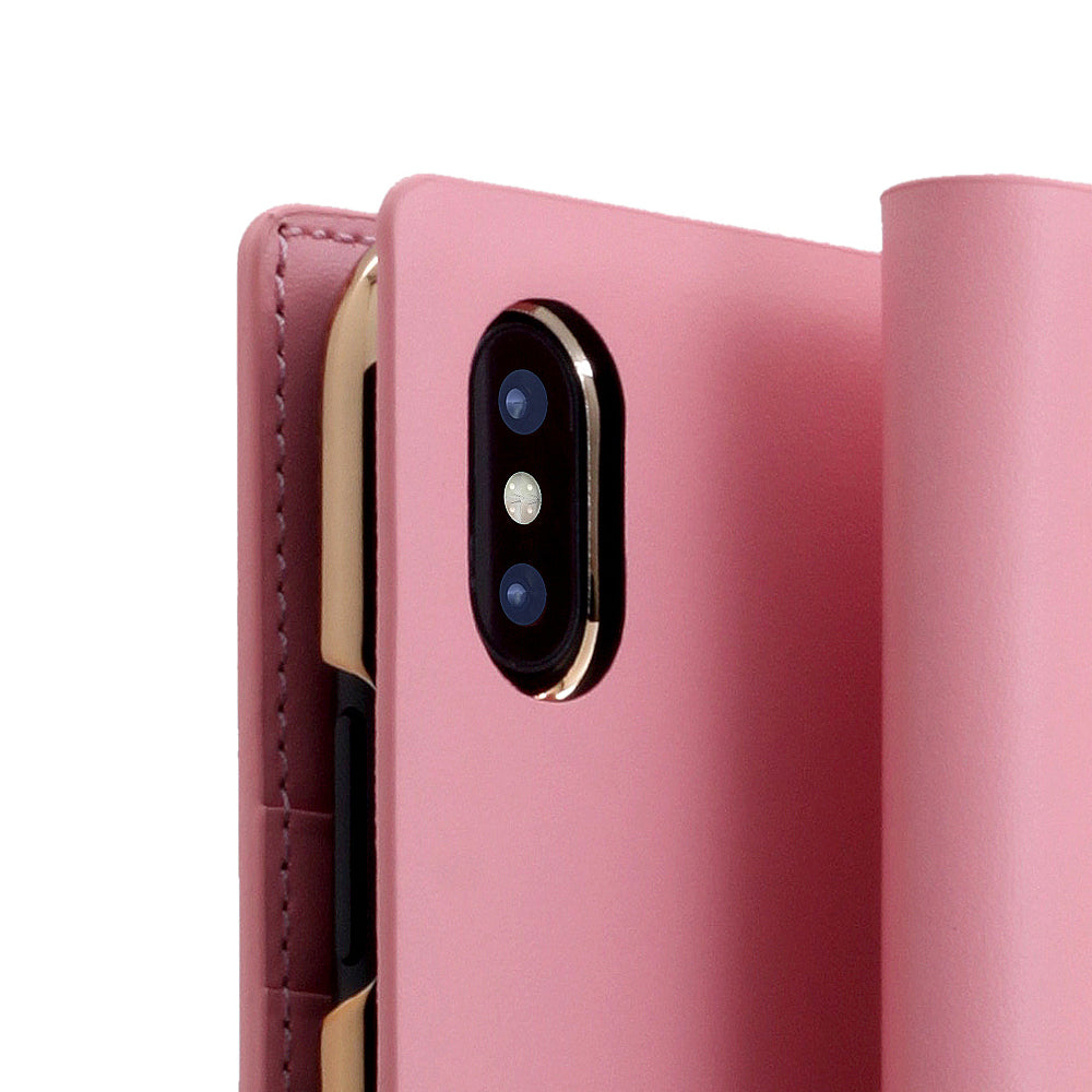 D5 Calf Skin Leather Case for iPhone X / XS B.Pink