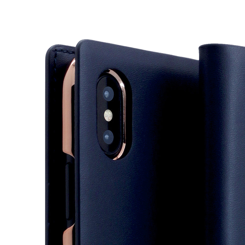 D5 Calf Skin Leather Case for iPhone X Navy