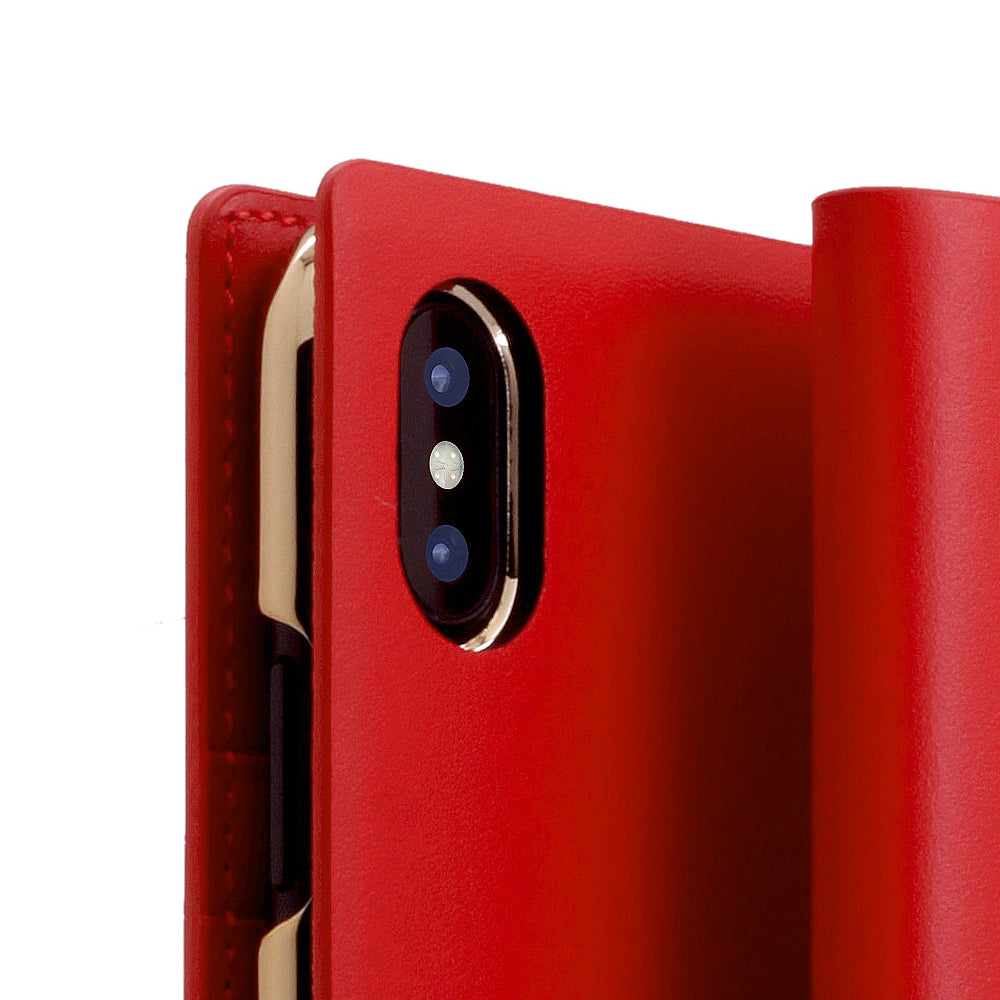 D5 Calf Skin Leather Case for iPhone X / XS Red