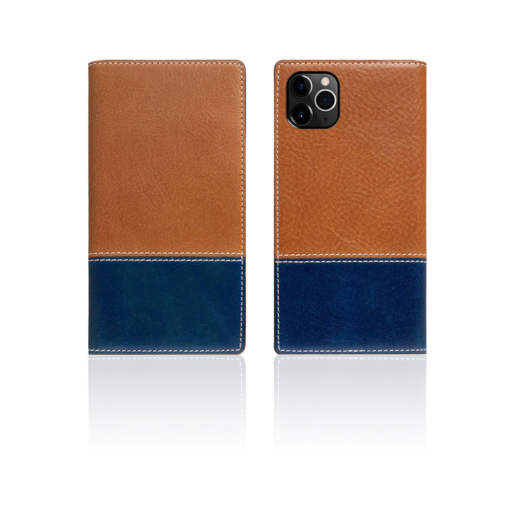 D+ Italian Temponata Leather Case for iPhone 11 Pro Tan Blue