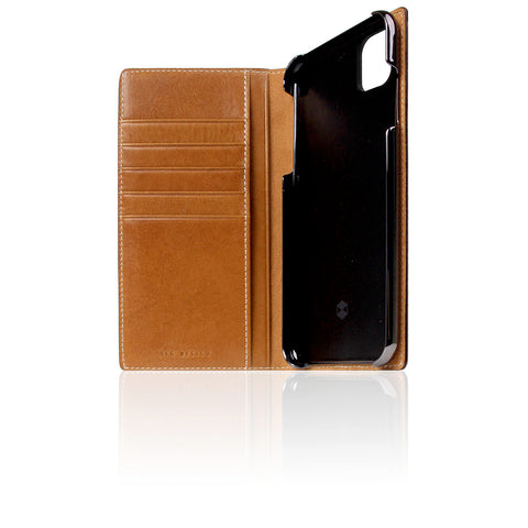 D+ Italian Temponata Leather Case for iPhone 11 Pro Max Tan Blue