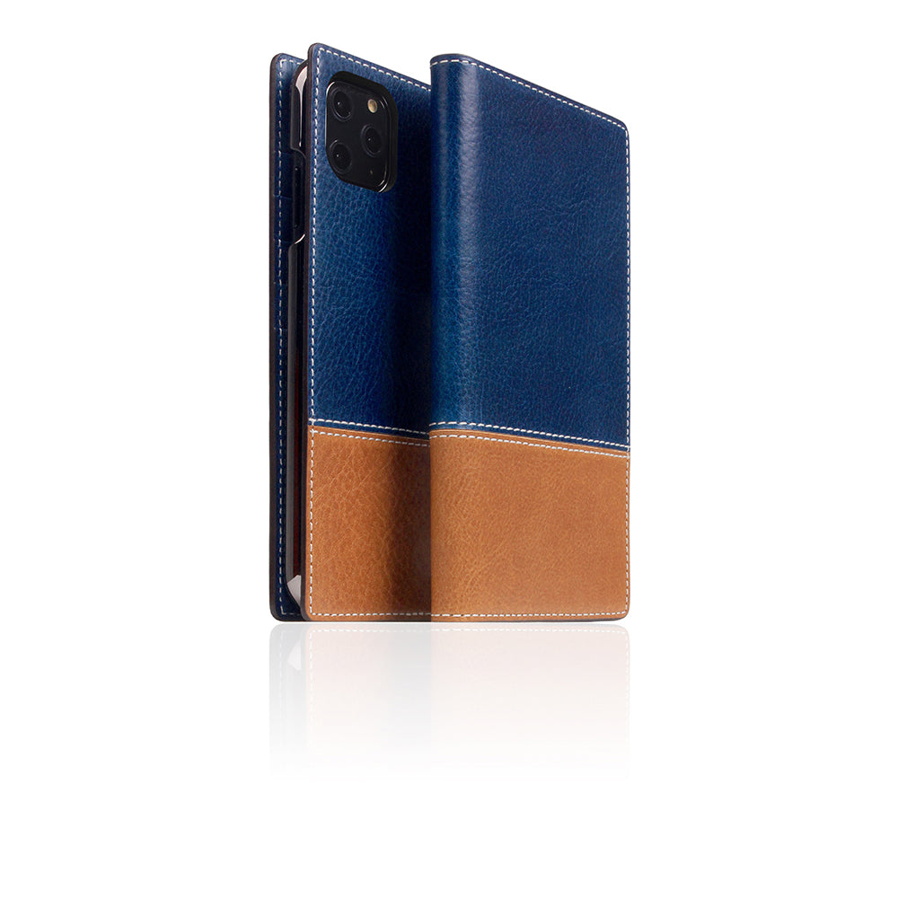 D+ Italian Temponata Leather Case for iPhone 11 Pro Max Blue Tan