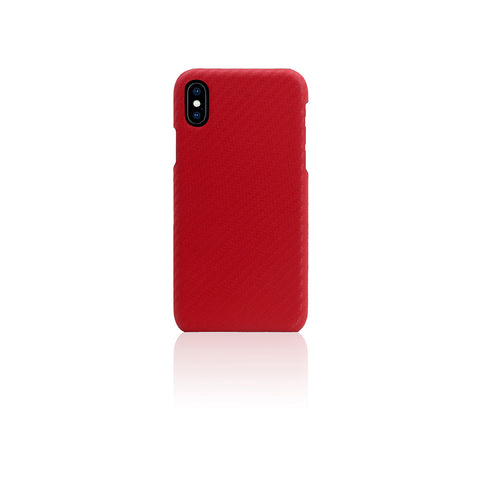 D+ Italian Carbon Leather Back Case for iPhone X Red