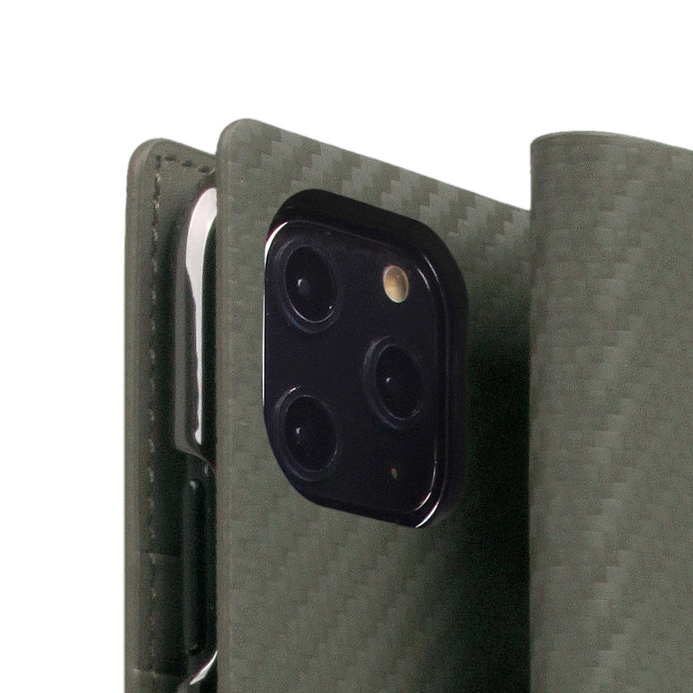 D+ Italian Carbon Leather Case for iPhone 11 Pro Khaki