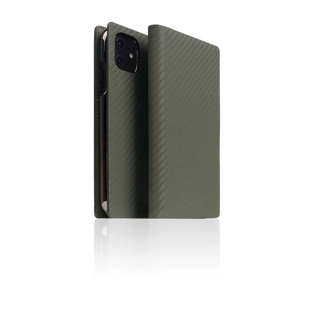 D+ Italian Carbon Leather Case for iPhone 11 Khaki