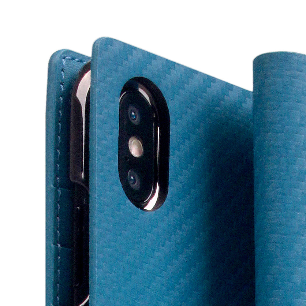 D+ Italian Carbon Leather Case for iPhone Xs Max Blue