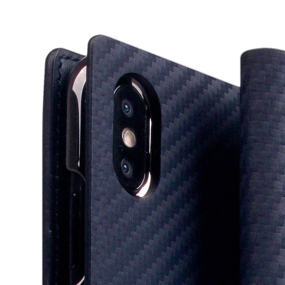 D+ Italian Carbon Leather Case for iPhone Xs Max Navy