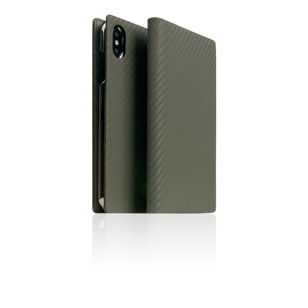 D+ Italian Carbon Leather Case for iPhone Xs Max Khaki