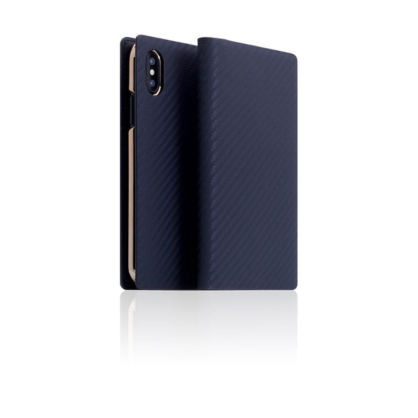 D+ Italian Carbon Leather Case for iPhone X / XS Navy