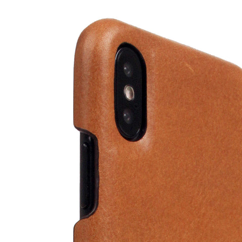 D+ Italian Temponata Leather Back Case for iPhone X / XS Tan Blue