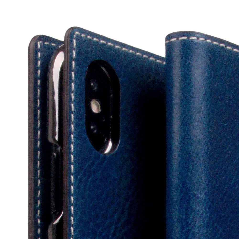 outlet store ed30f aaba5 D+ Italian Temponata Leather Case for iPhone X / XS Blue Tan
