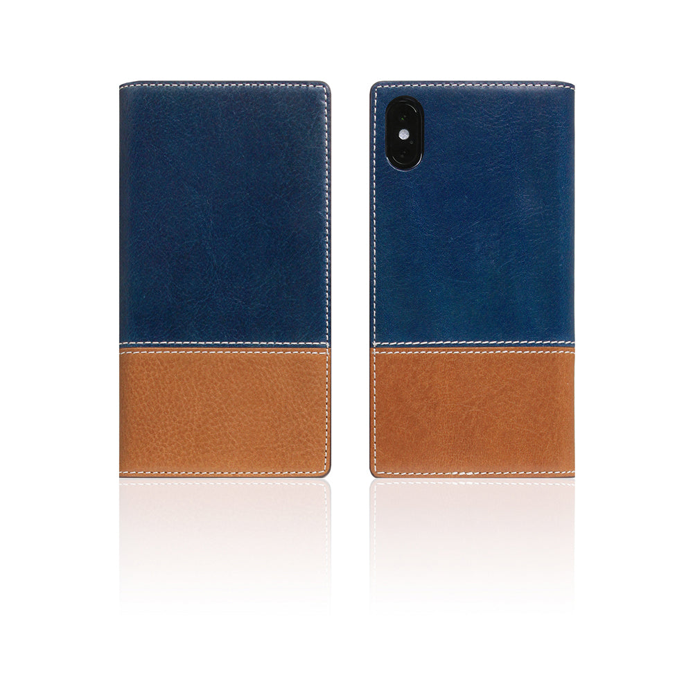 D+ Italian Temponata Leather Case for iPhone X / XS Blue Tan