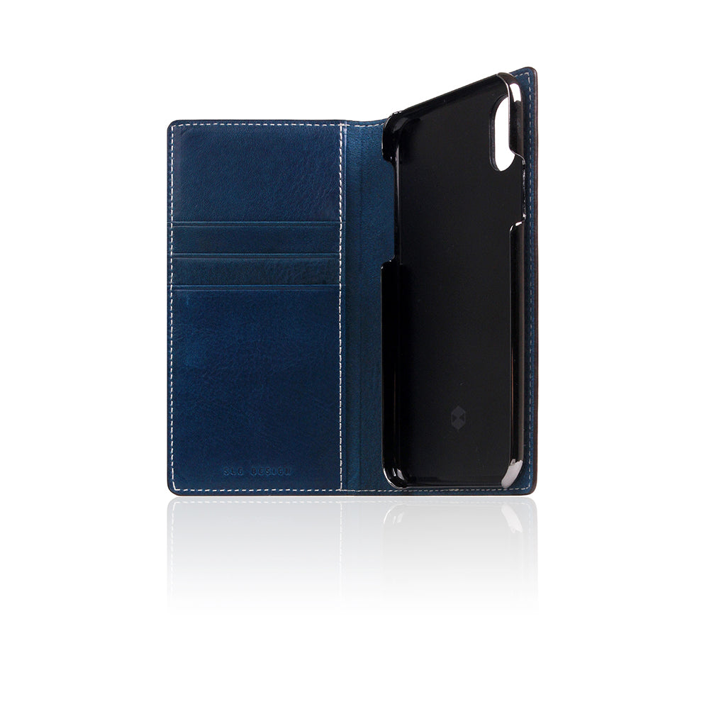 D+ Italian Temponata Leather Case for iPhone 11 Pro Blue Tan