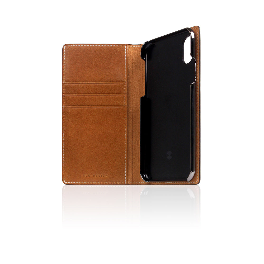 D+ Italian Temponata Leather Case for iPhone X / XS Tan Blue
