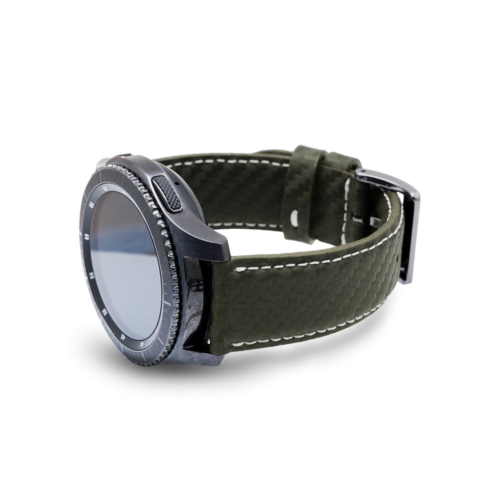D+ Italian Carbon Leather Strap for Gear S3 Khaki