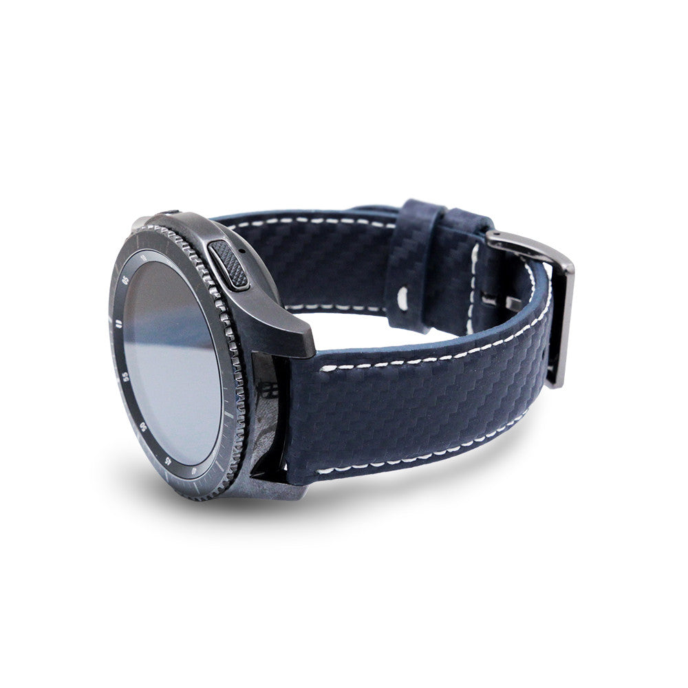 D+ Italian Carbon Leather Strap for Gear S3 Navy