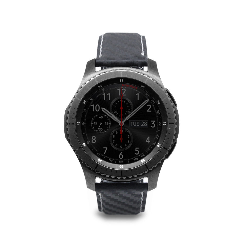 D+ Italian Carbon Leather Strap for Gear S3 Black