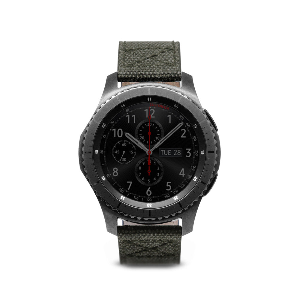 D+ Wax Canvas Strap for Gear S3 Khaki