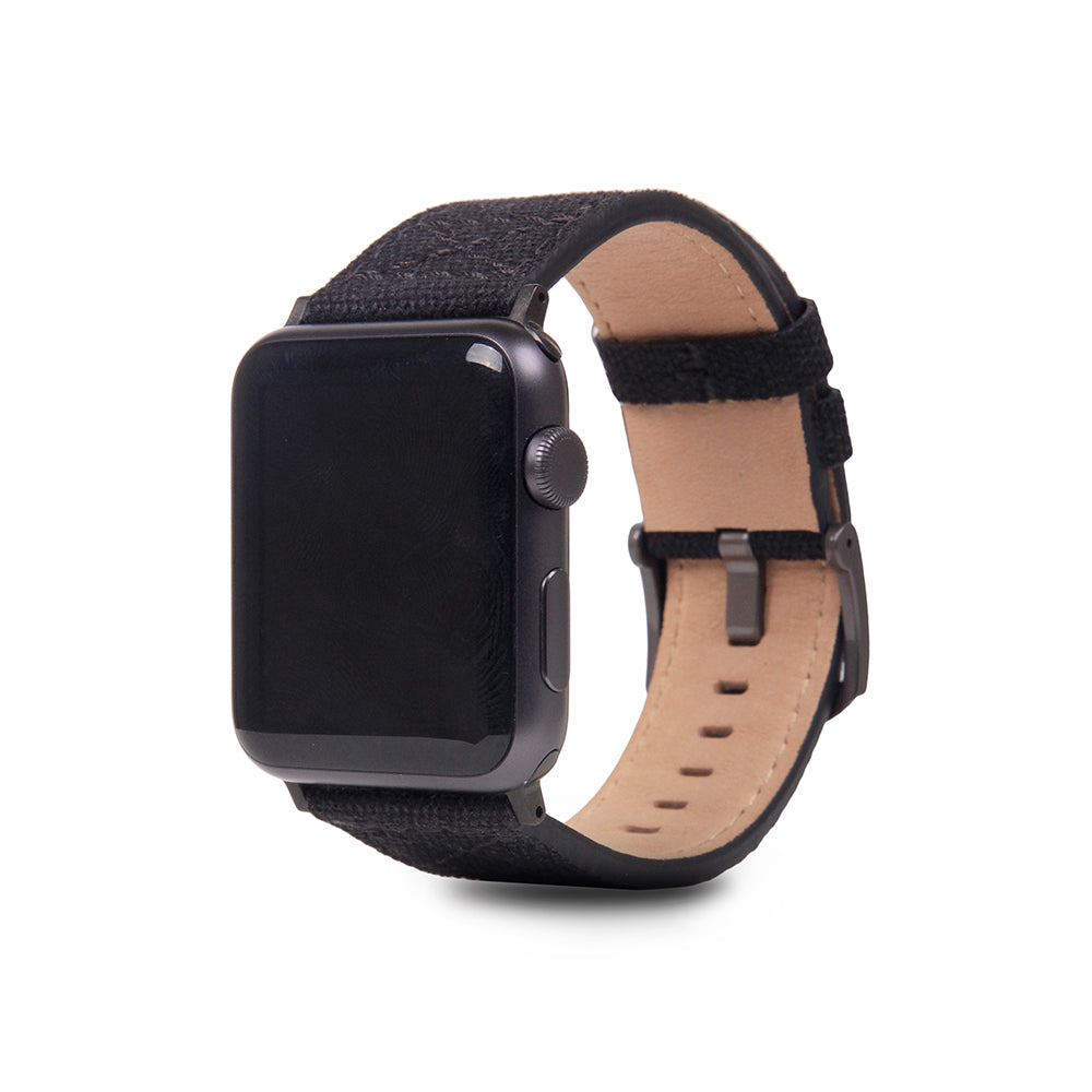 D+ Wax Canvas Strap for Apple Watch 1to4 42/44mm Black