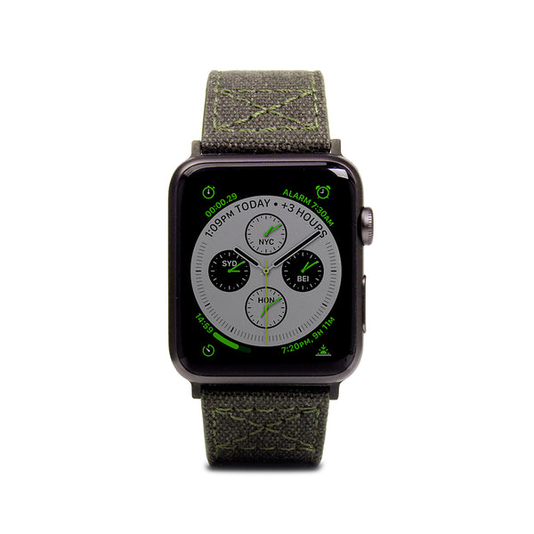 D+ Wax Canvas Strap for Apple Watch 1to4 42/44mm Khaki