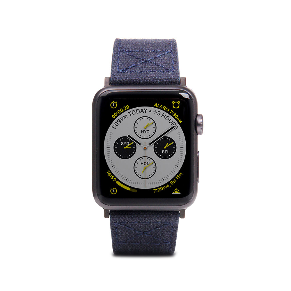 D+ Wax Canvas Strap for Apple Watch 1to4 42/44mm Navy
