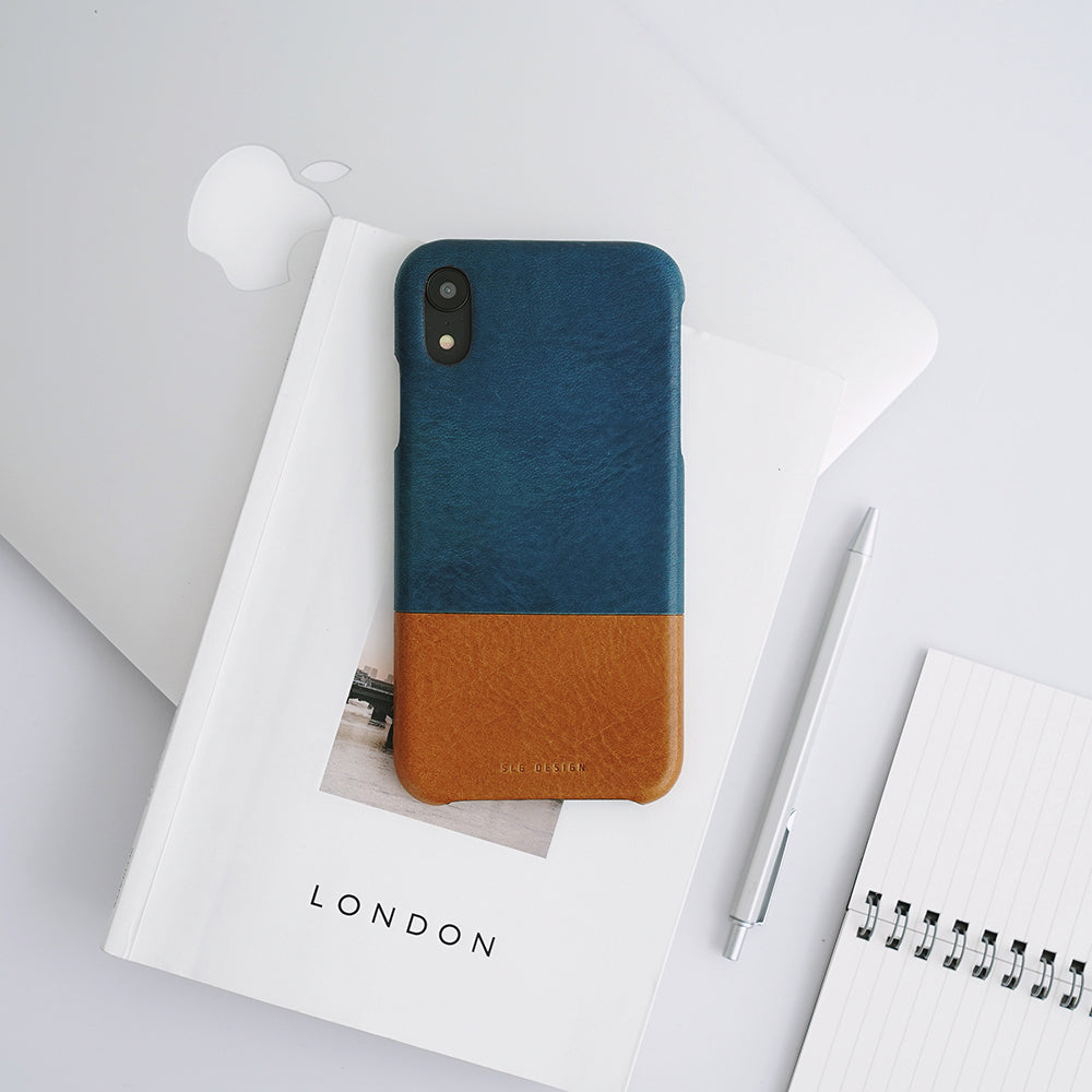D+ Italian Temponata Leather Back Case for iPhone X / XS Blue Tan