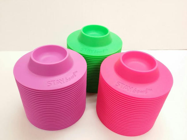Wholesale - 150 count of STAYbowl™ Tip-Proof Bowl - Green, Purple and Pink - www.MyStayBowl.com