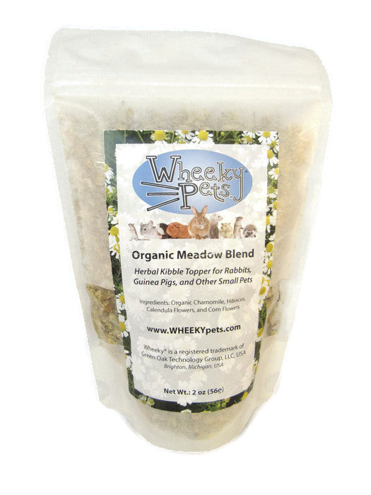 Wheeky® Pets Organic Meadow Blend: Herbal Treat, Kibble Topper for Rabbits, Guinea Pigs, and Other Small Pets