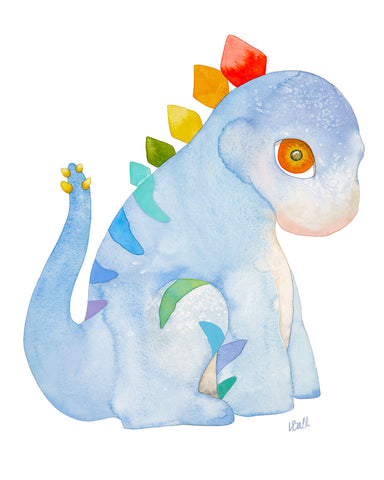 SIDNEY THE STEGOSAURUS-ORIGINAL WATERCOLOR
