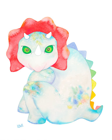 TAYLOR THE TRICERATOPS-ORIGINAL WATERCOLOR
