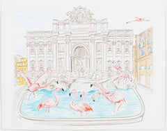 FLAMINGOS FLOCK TO THE TREVI FOUNTAIN
