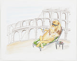 ORIGINAL WATERCOLOR ON PAPER - LION RELAZING AT THE COLOSSEUM