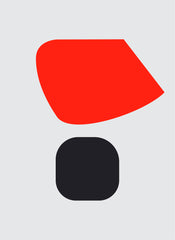 UNTITLED (ORANGE RED AND BLACK ON LIGHT GREY)