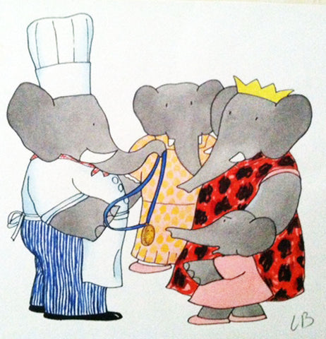 BABAR ORIGINAL DRAWING BY LAURENT DE BRUNHOFF