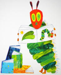 RARE HAND SIGNED FINE ART PRINT, THE VERY HUNGRY CATERPILLAR BY ERIC CARLE