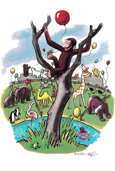 RARE AND COLLECTIBLE LIMITED EDITION FINE ART PRINT OF CURIOUS GEORGE BY H.A. REY