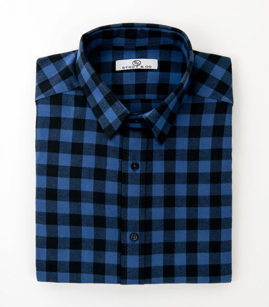 Stout&Co. Black Blue Gingham Cotton Dress Shirt Button Up