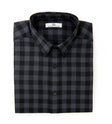 Black & Gray Dress Shirt, Menswear, Button Up