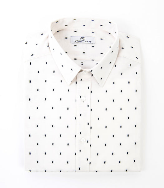 Stout&Co. Black White Printed Dress Shirt Button Up Cotton