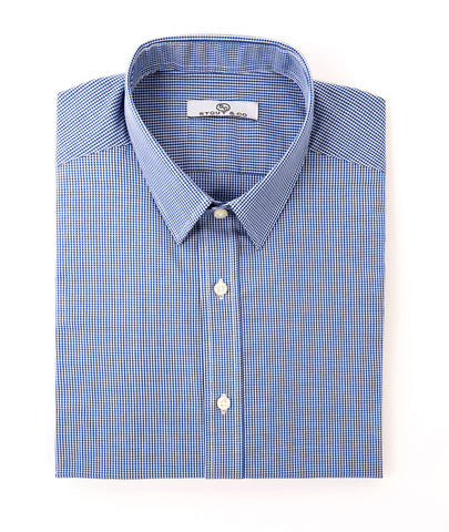 Stout&Co. Blue Mini Check Gingham Cotton Button Up Dress Shirt