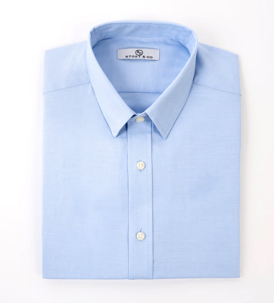 Stout&Co. Light Blue Pin Heritage Cotton Button Up Dress Shirt