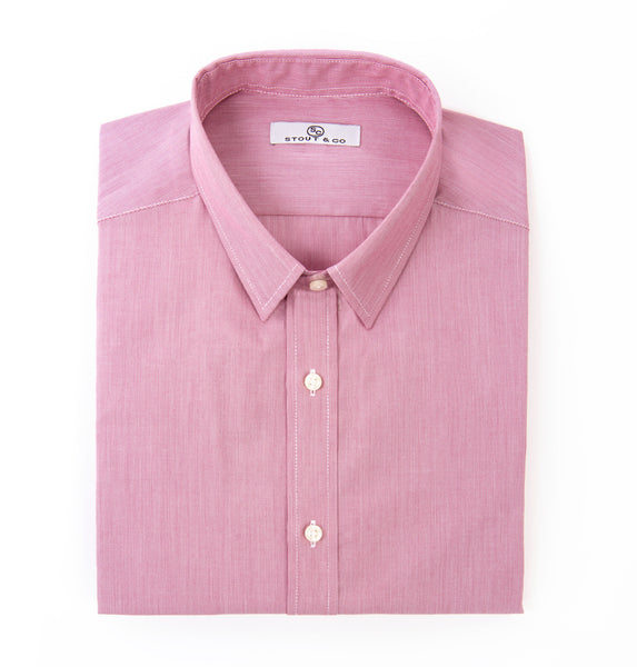 Stout&Co. Hairline Salmon Cotton Button Up Dress Shirt