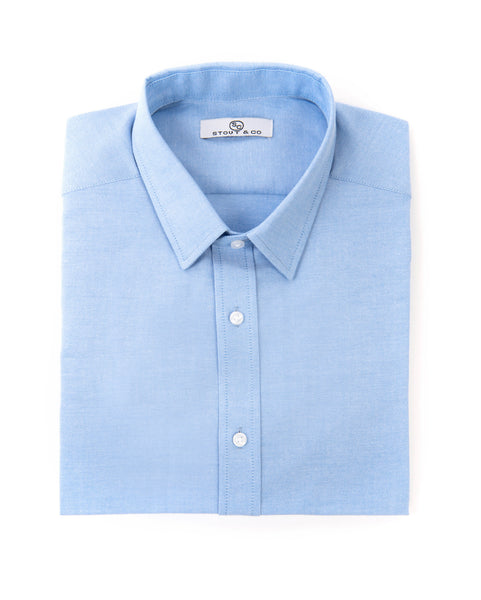 Stout&Co. Heritage Blue Pin Point Button Up Cotton Dress Shirt