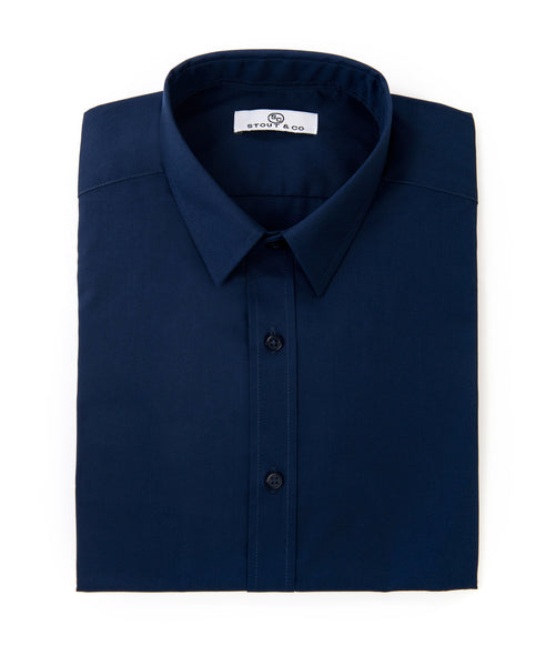 Stout&Co. Deep Navy Cotton Button Up Dress Shirt