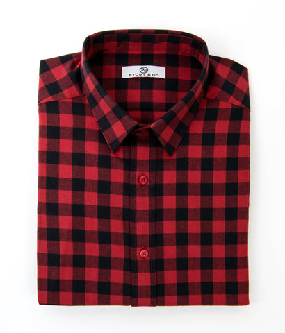 Stout&Co. Red Black Buffalo Check Dress Button Up Cotton Shirt