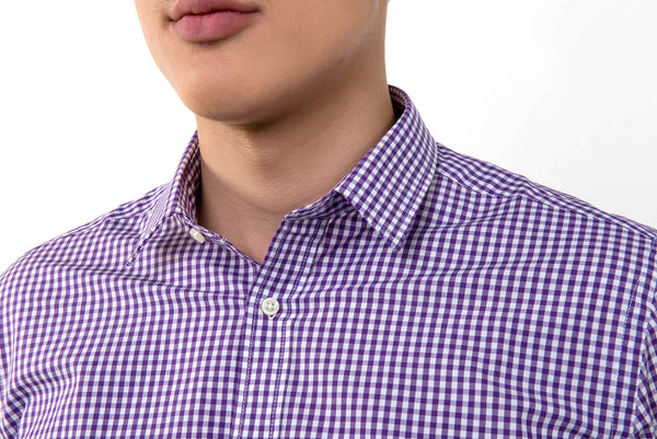 Stout&Co. Violet Checked Dress Shirt Cotton Button Up
