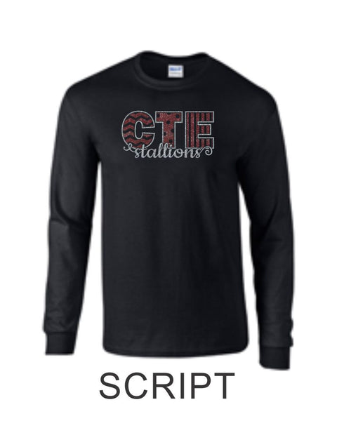 CTE Glitter Black or Grey Long Sleeve T-Shirt in 4 New Designs