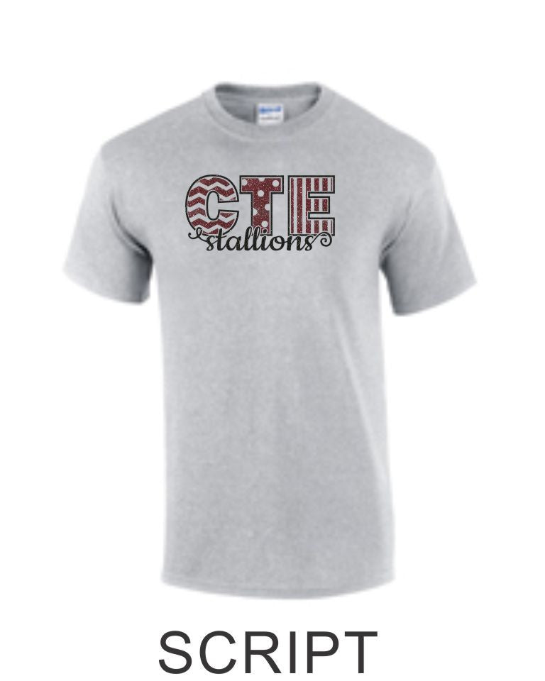 CTE Glitter Maroon or Grey Basic T-Shirt in 4 New Designs